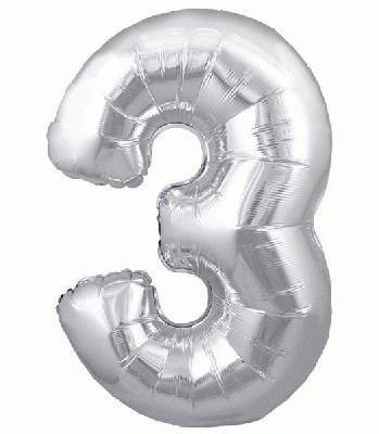 Ballon Chiffre 3 Taille 86 cm ARGENTE
