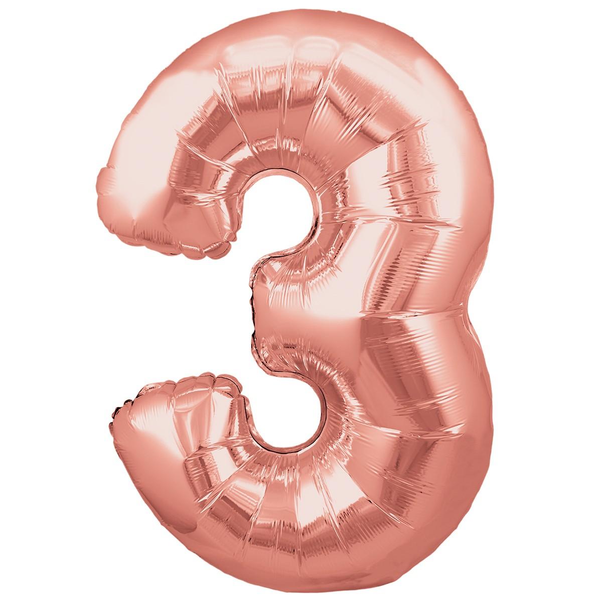 Ballon Chiffre 3 Taille 86 cm Rose Gold