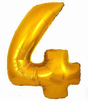 Ballon Chiffre 4 Taille 86 cm DORE