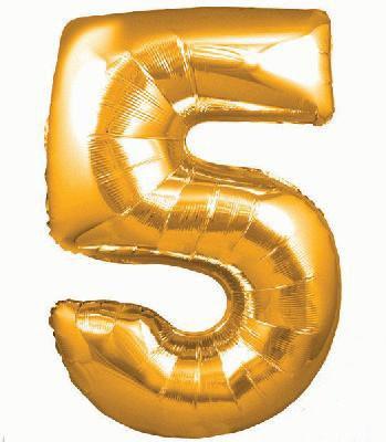 Ballon Chiffre 5 Taille 86 cm DORE