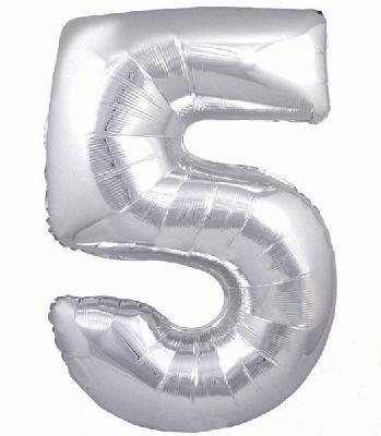 Ballon Chiffre 5 Taille 86 cm ARGENTE