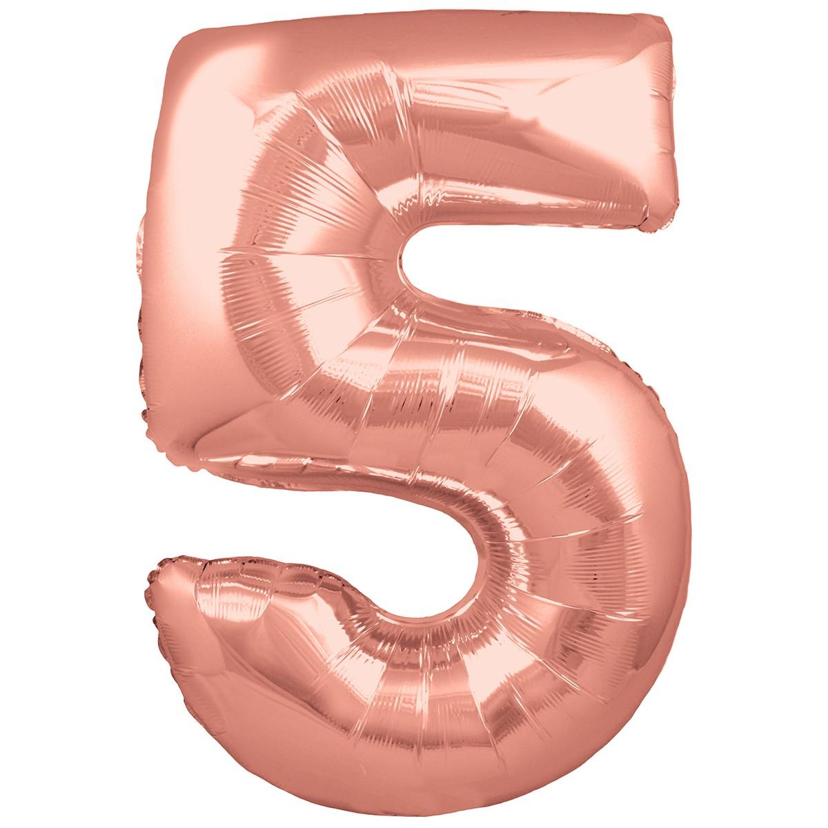 Ballon Chiffre 5 Taille 86 cm Rose Gold