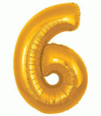 Ballon Chiffre 6 Taille 86 cm DORE