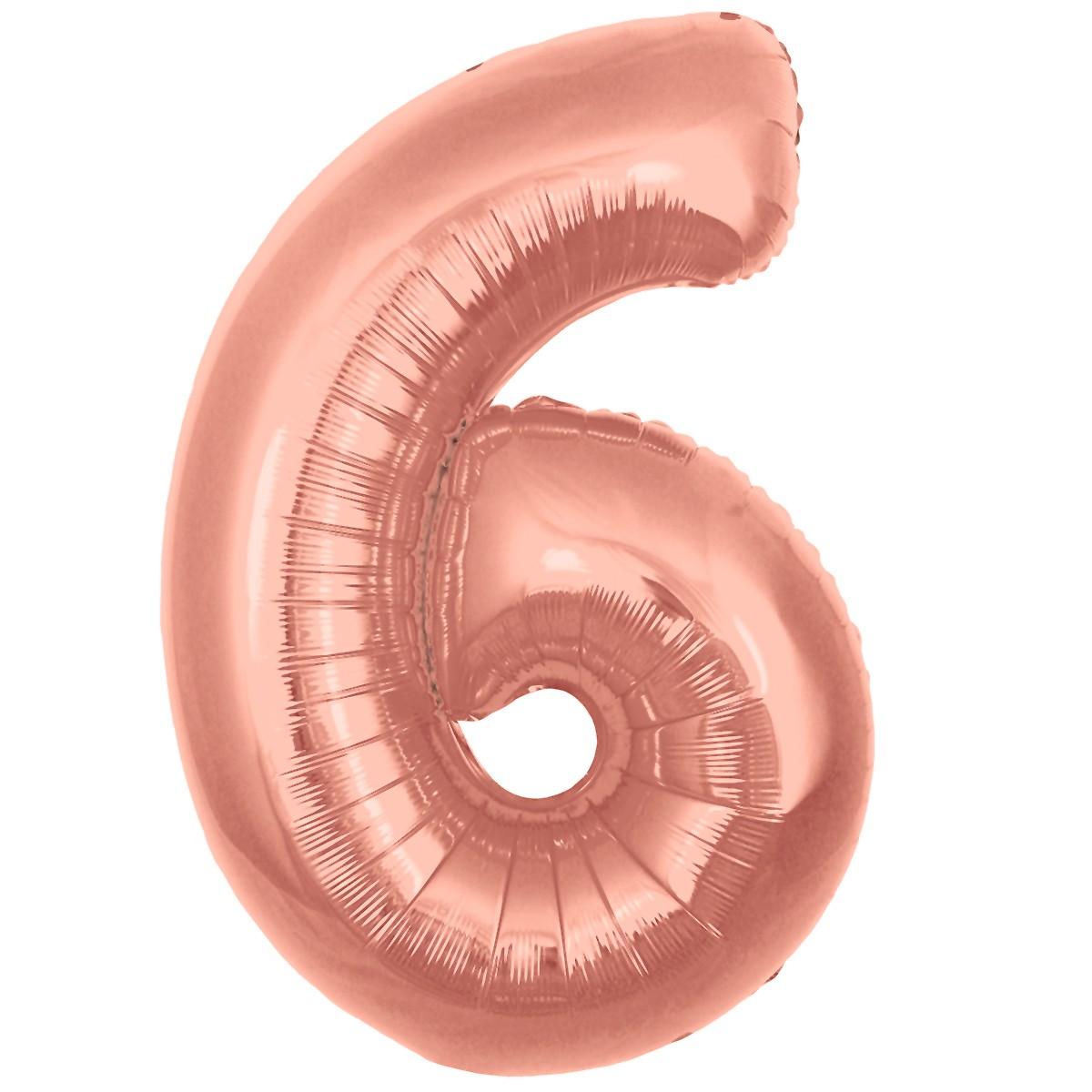 Ballon Chiffre 6 Taille 86 cm Rose Gold