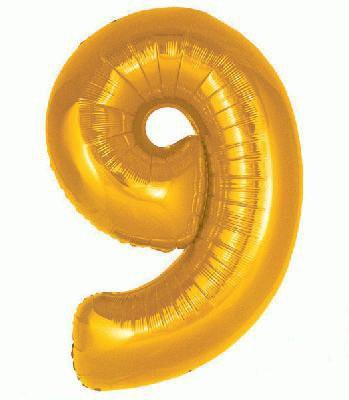 Ballon Chiffre 9 Taille 86 cm DORE