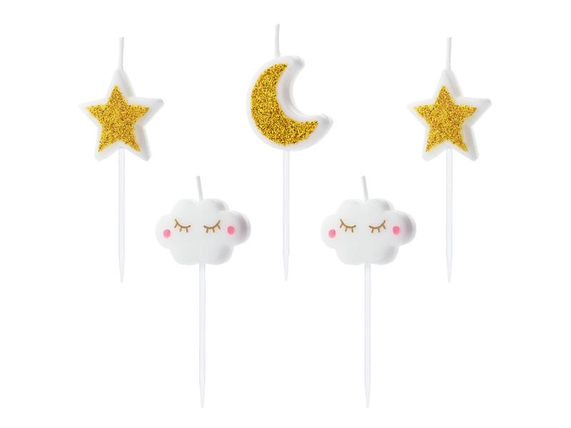 5 Bougies Anniversaire Lune & Nuages