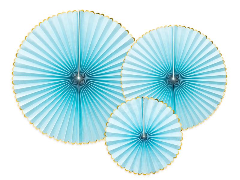 3 rosaces Bleus clairs