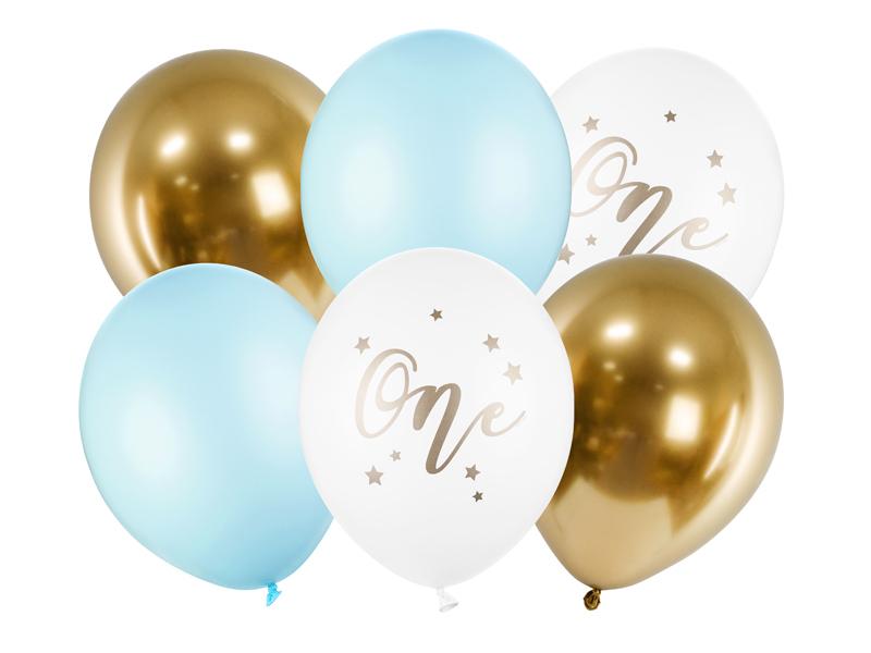 6 ballons anniversaire 1 an bleu et doré