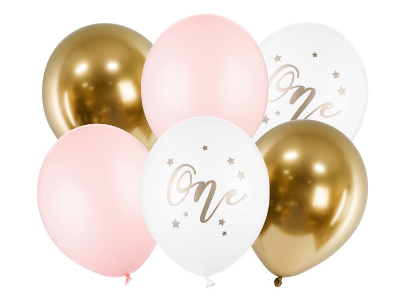 6 ballons anniversaire 1 an rose et doré