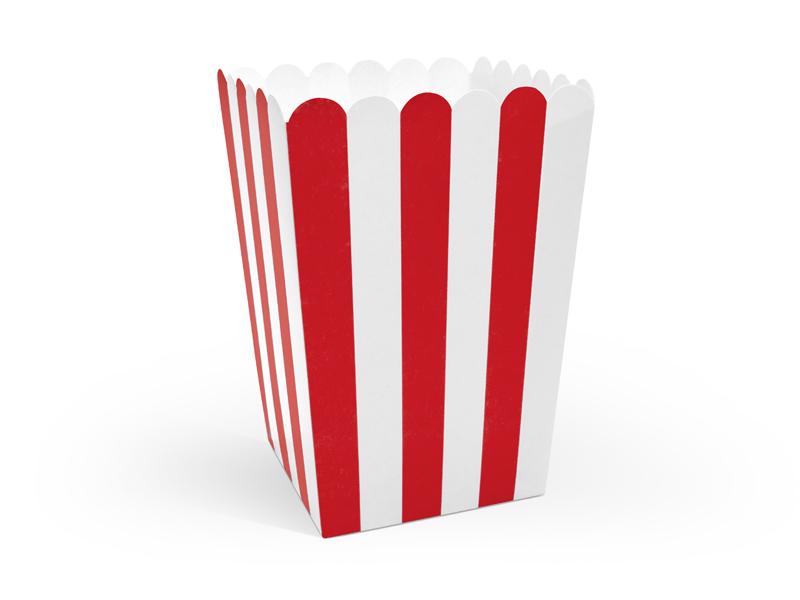 6 pots popcorn Rouge et Blanc