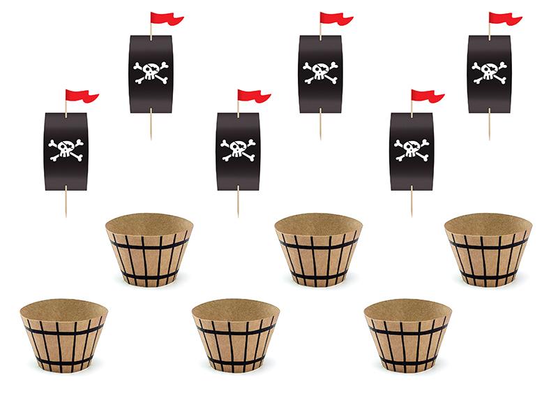 Kit de 6 décors cupcake Pirate