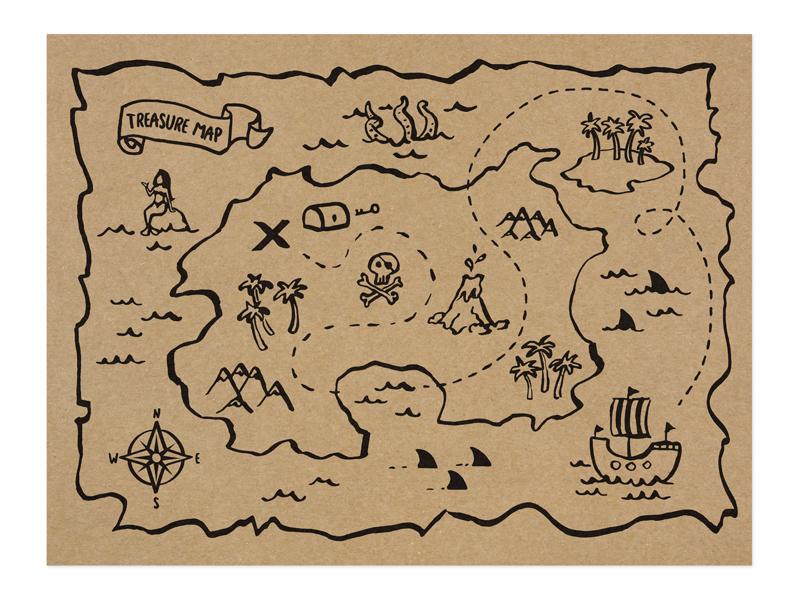 5 sets de table Chasse au Tresor Pirate