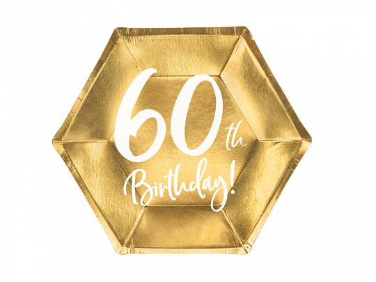 6 assiettes anniversaire 60 ans dorées