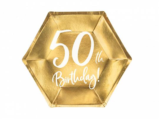 6 assiettes anniversaire 50 ans dorées