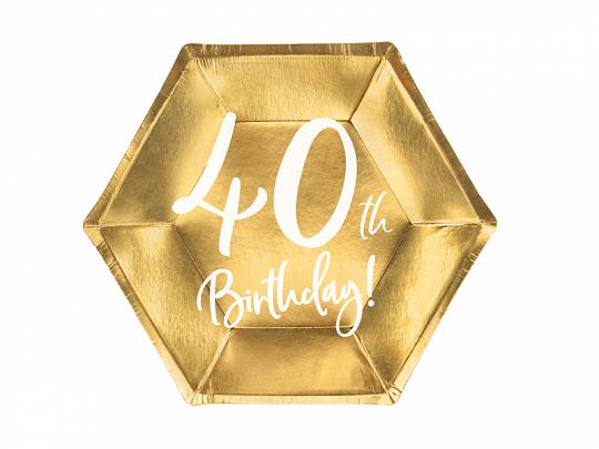6 assiettes anniversaire 40 ans dorées