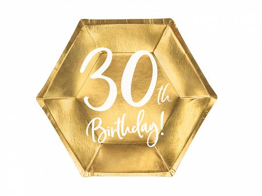 6 assiettes anniversaire 30 ans dorées