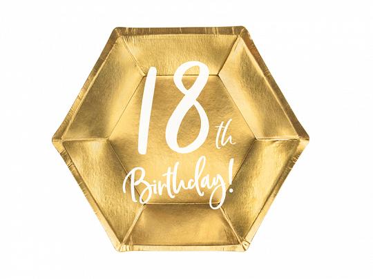 6 assiettes anniversaire 18 ans dorées