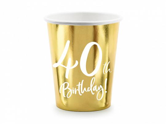 6 gobelets anniversaire 40 ans dorées