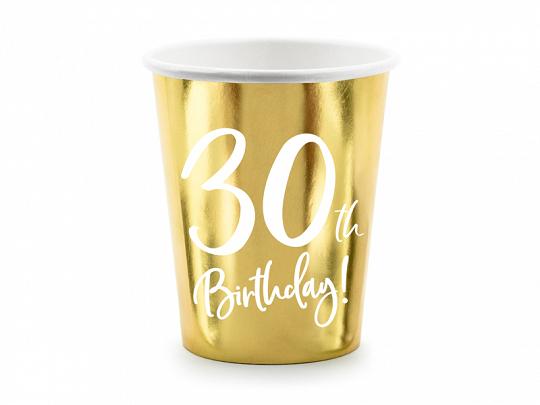 6 gobelets anniversaire 30 ans doréesc