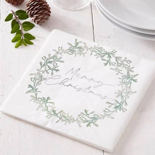 16 serviettes Noel couronne de gui