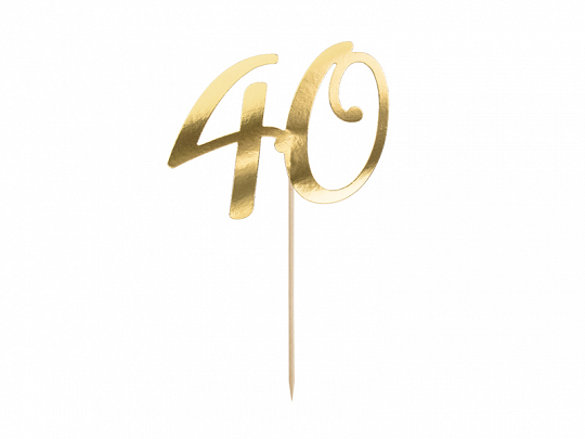 Cake Topper 40 ans doré