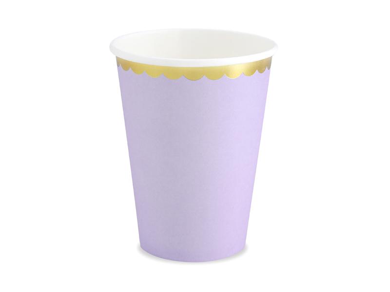 6 gobelets Lilas bordure dorée