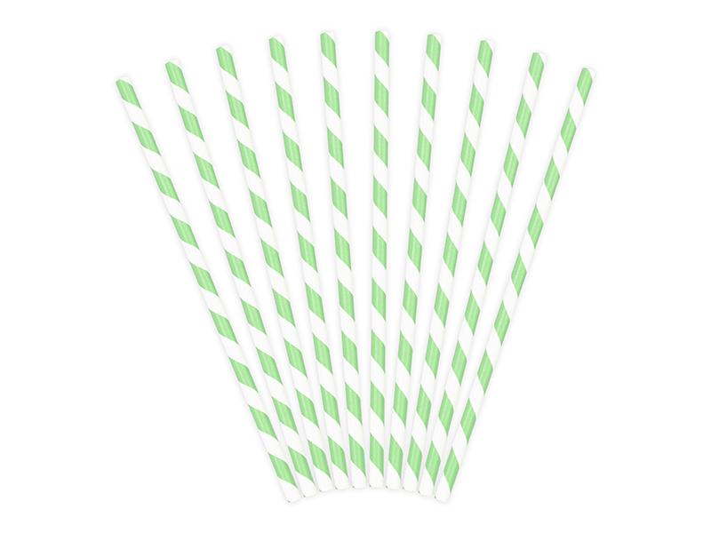 10 Pailles en papier rayées vert