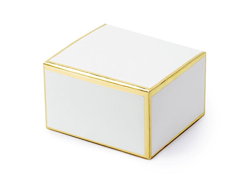 10 Boites dragées Blanc Contour Doré