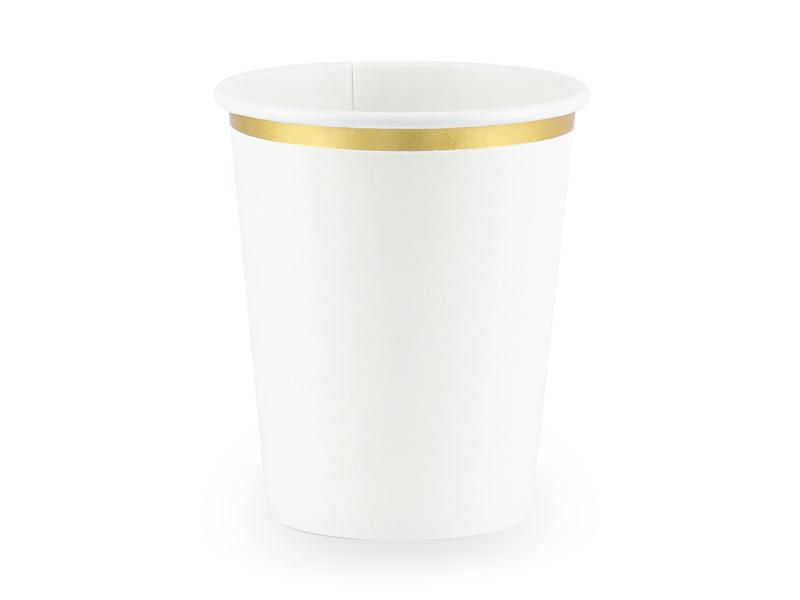 6 gobelets Blancs bordure dorée