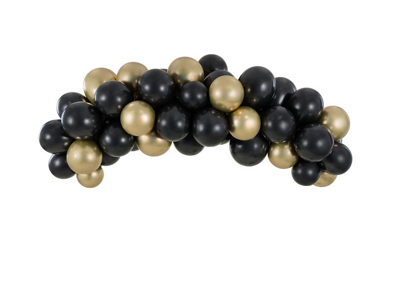 Arche 60 ballons Noirs et Dorés
