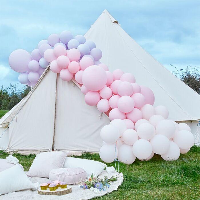 Kit pour guirlande de ballons Rose Pastel & Violet