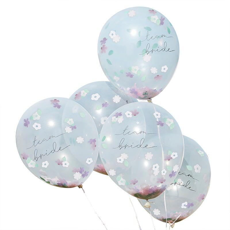 5 Ballons Team Bride BOHO Floral