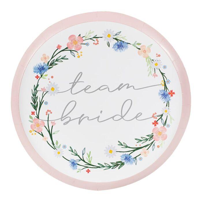 8 assiettes Team Bride BOHO floral