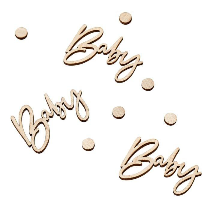 Lot de 18 Confettis Bois Baby