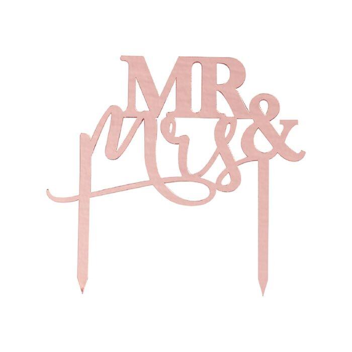 Cake Topper Acrylique Mr et Mrs Rose Gold