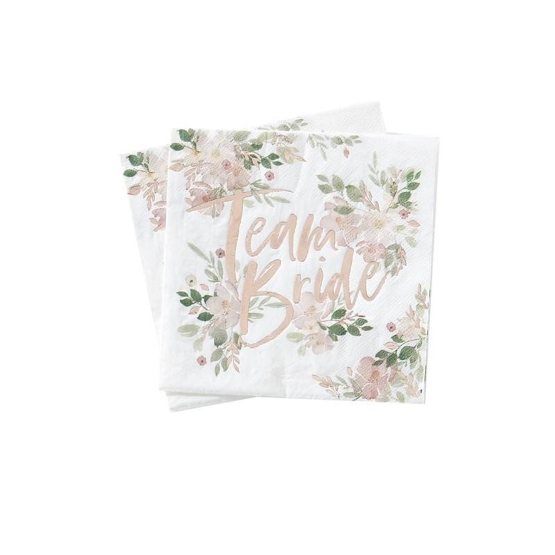 16 serviettes Team bride florale