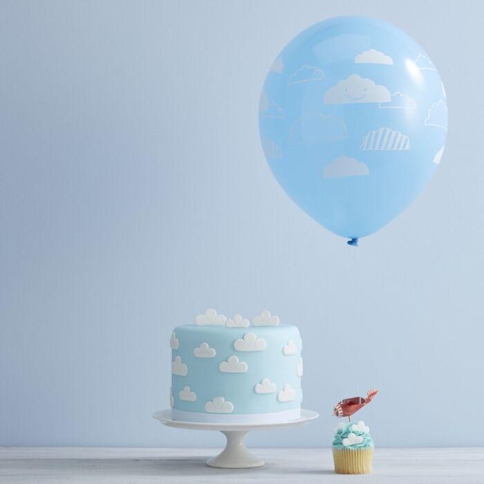 10 Ballons bleus motif Nuages
