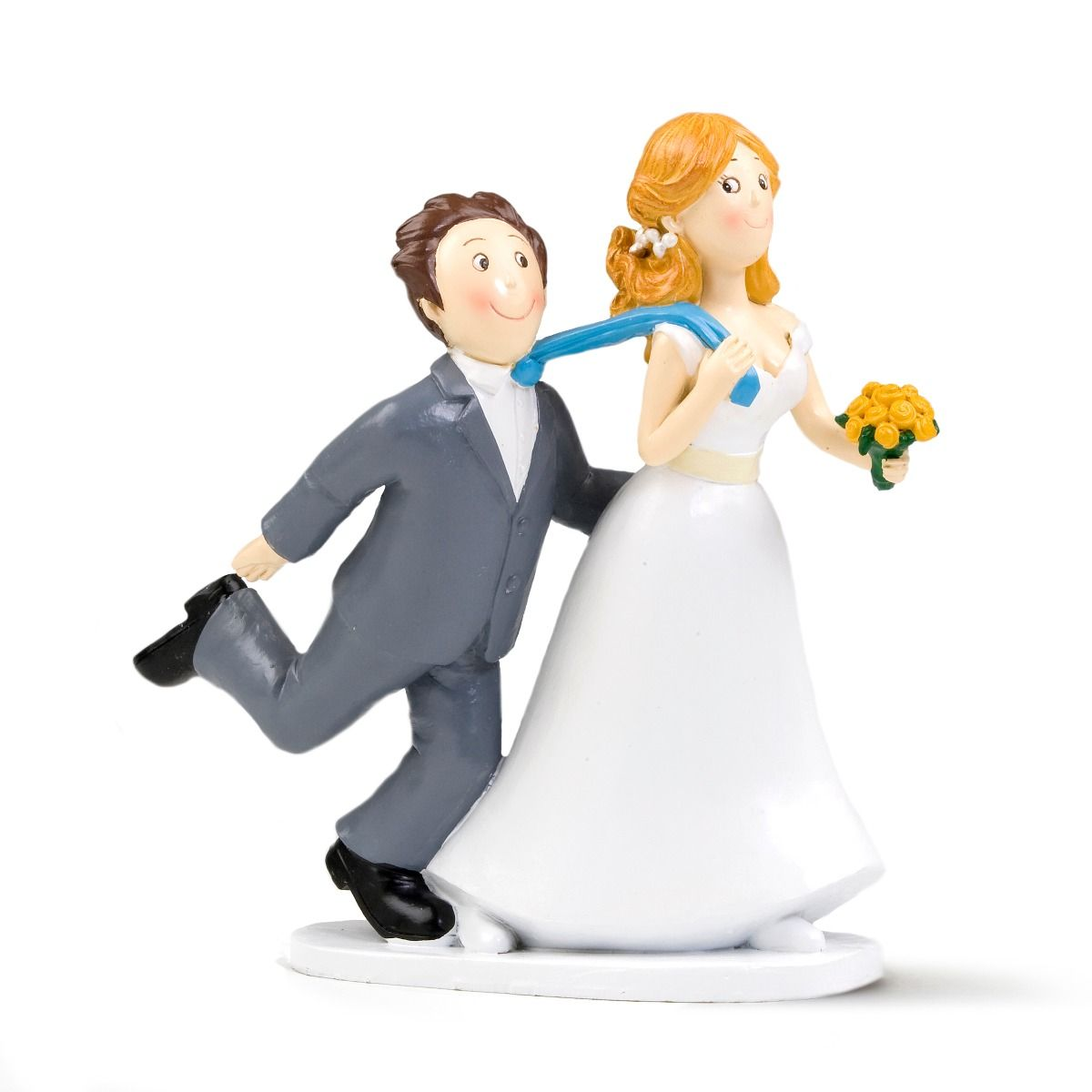 Figurine de gâteaux de mariage tirant la cravate