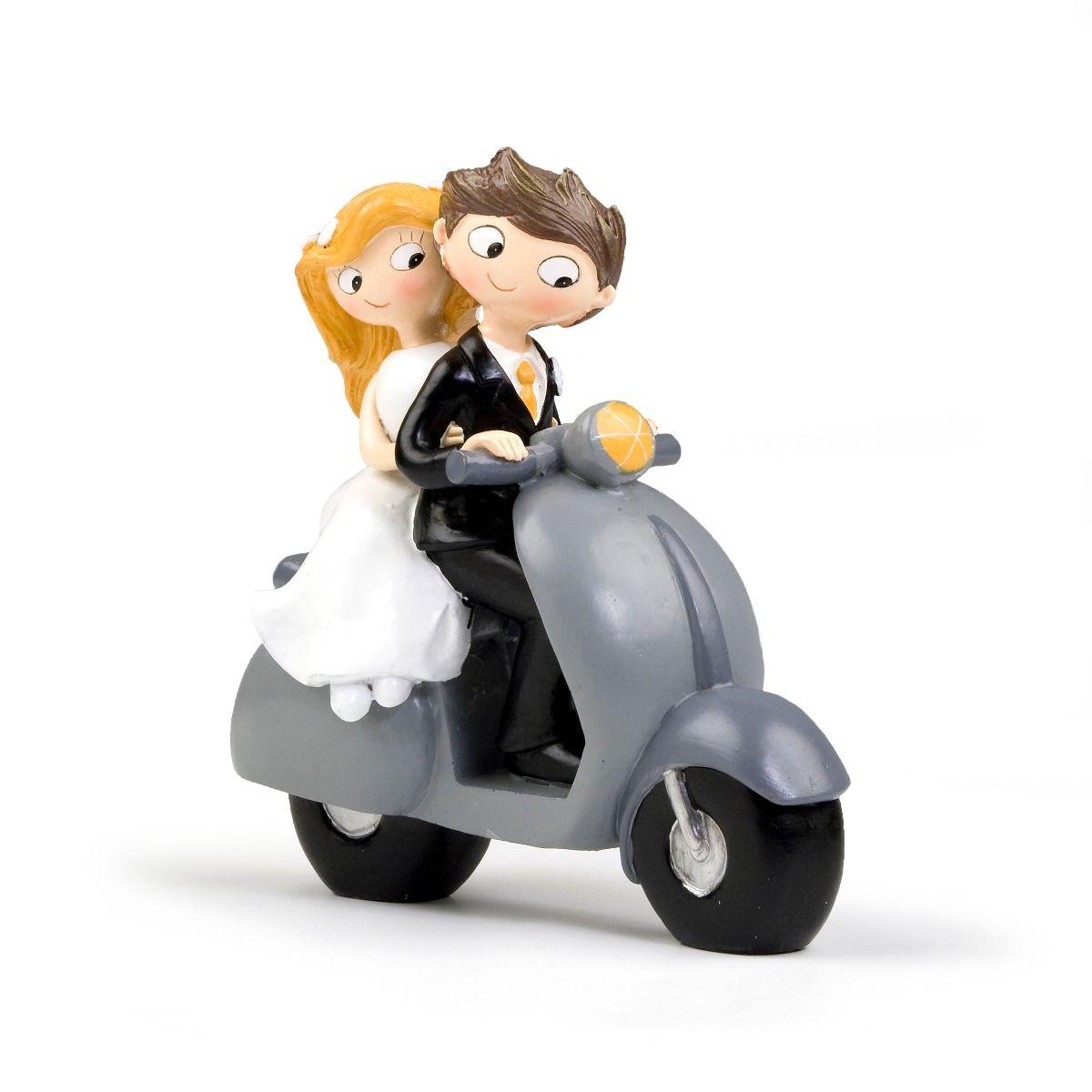 Figurine pour gâteaux de mariage mariés en scooter