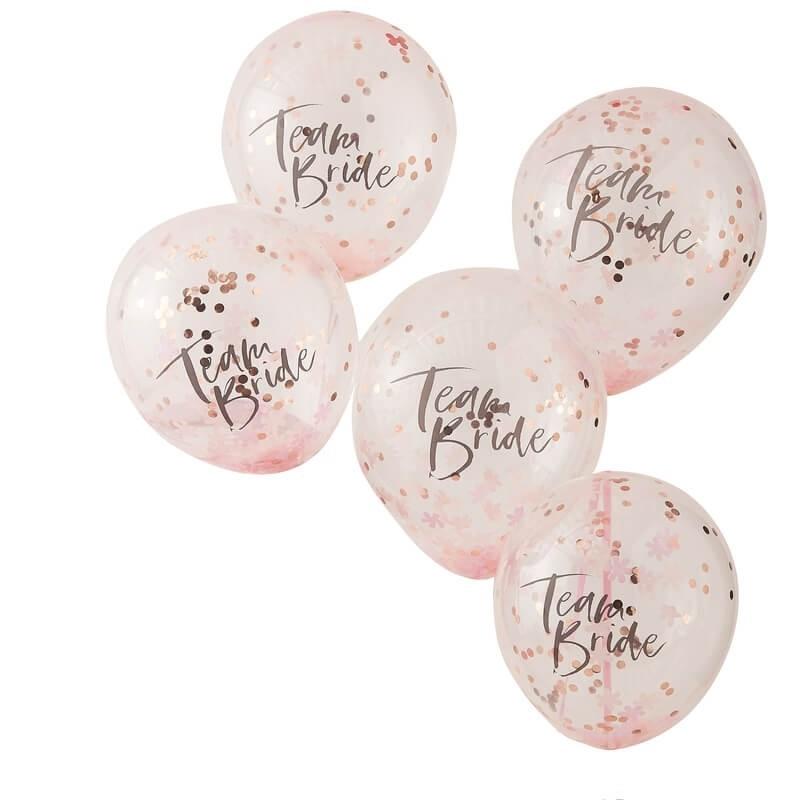 5 ballons avec confettis Team Bride