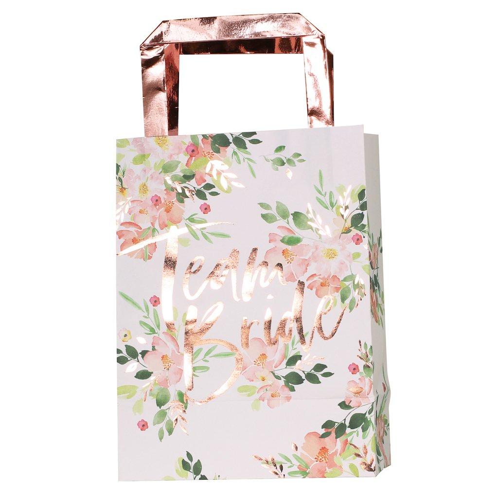 5 sacs cadeau evjf Team Bride Florale