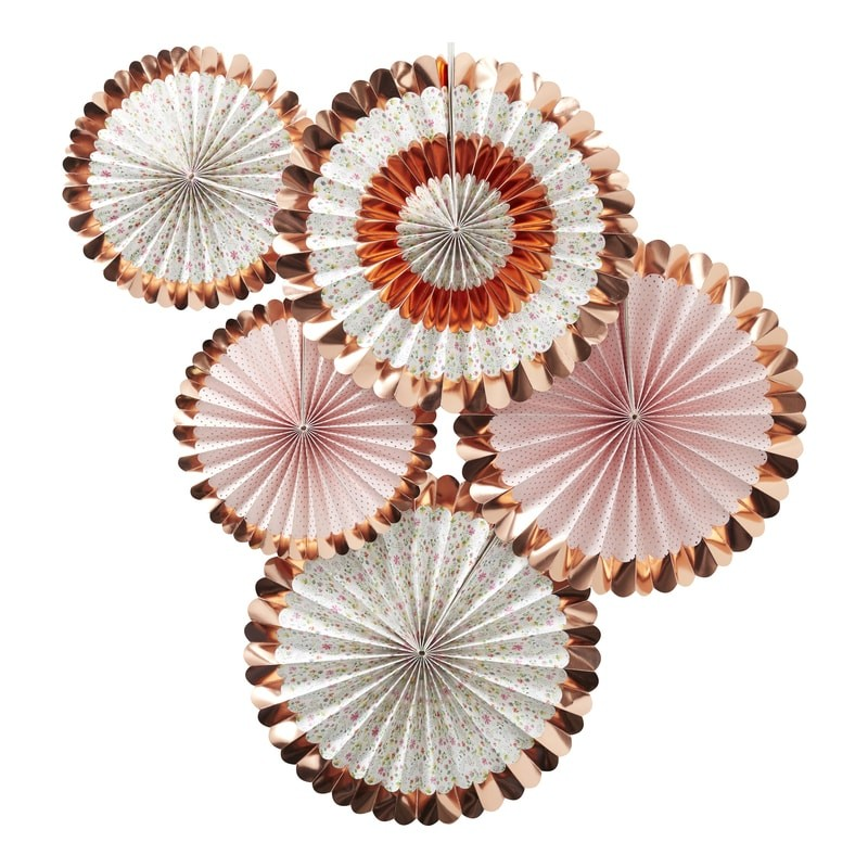 5 Rosaces Fleuries Rose Gold
