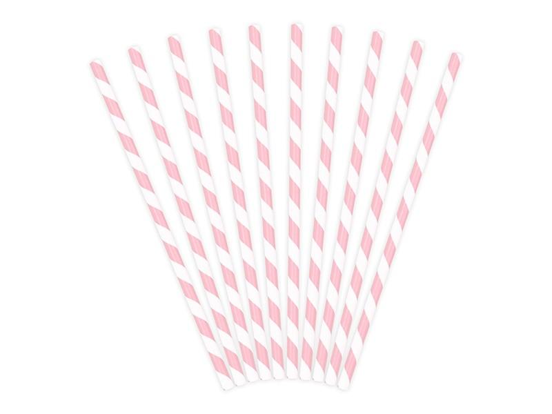 10 Pailles à rayure rose clair