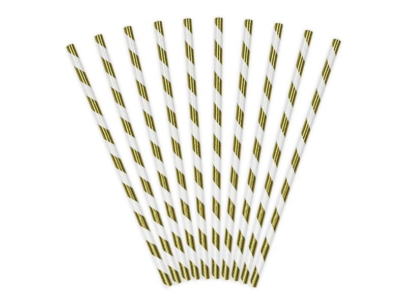10 pailles rayées dorées