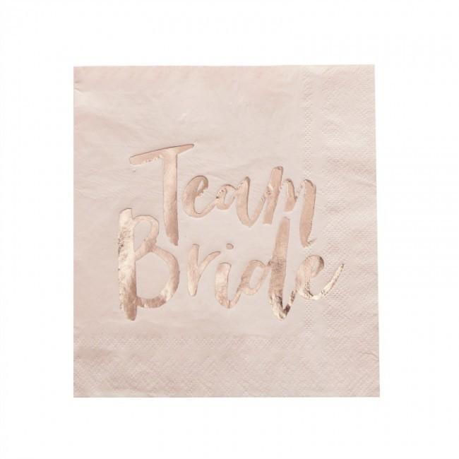16 serviettes papier  Team Bride  roses