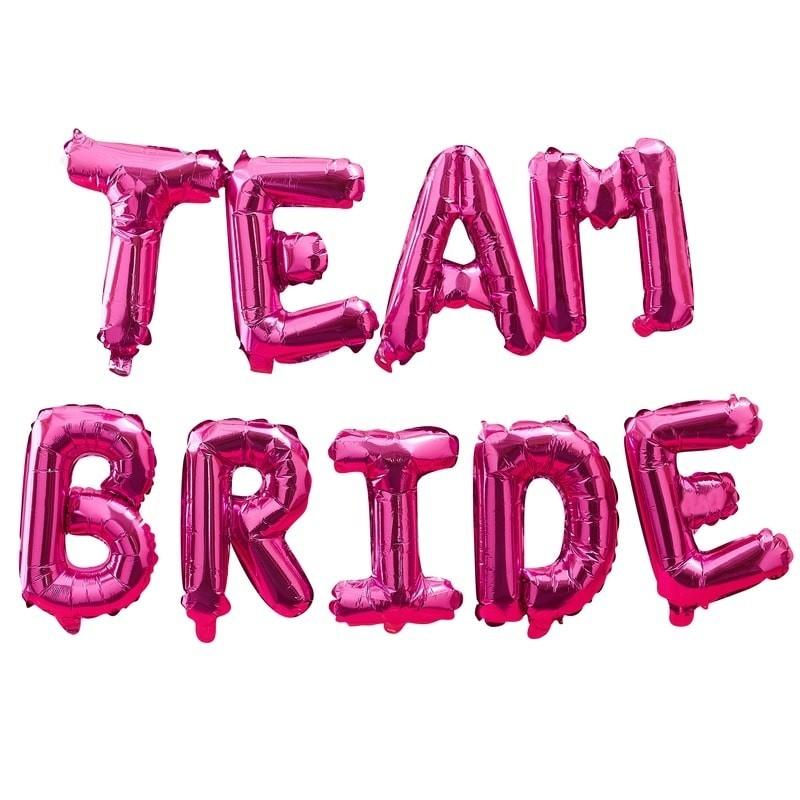 Ballons lettres Team Bride Fuchsia