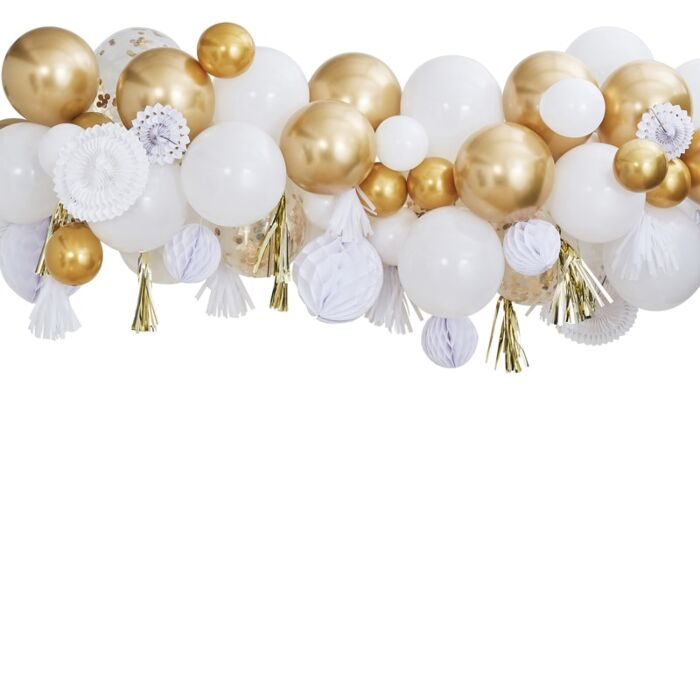 Kit 80 ballons et Boules Blanc et Doré