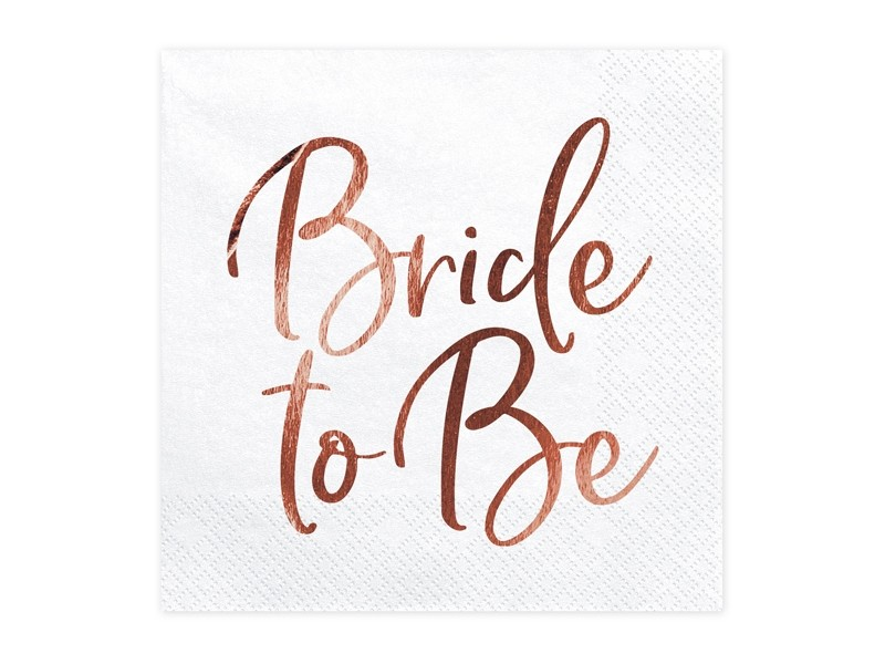 20 serviettes Bride to be rose gold