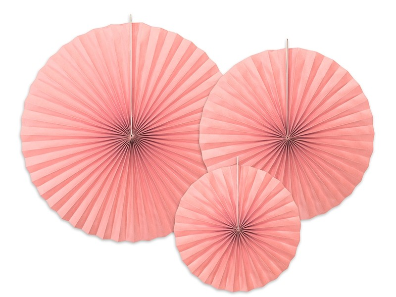 3 rosaces papier rose blush