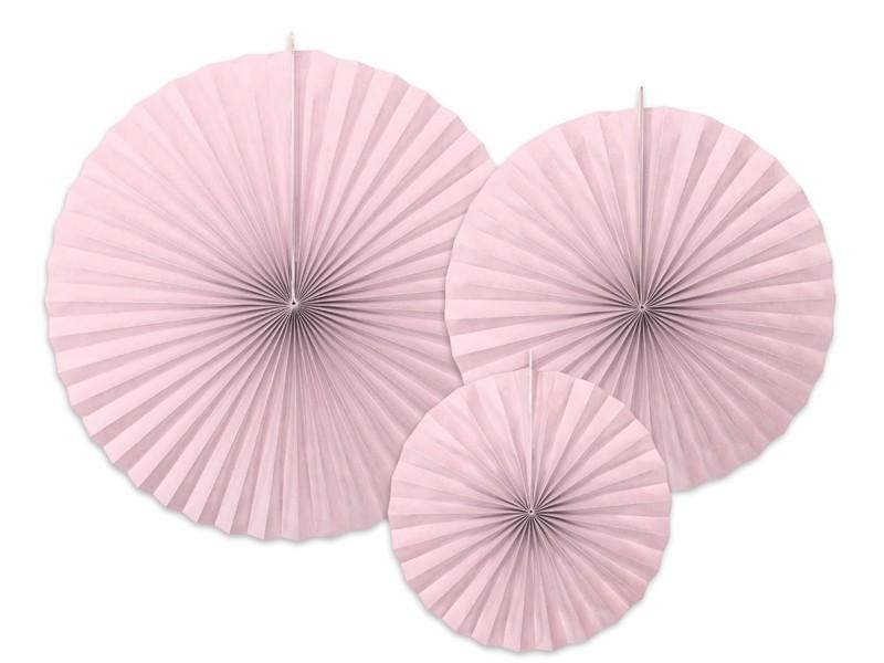 3 rosaces papier roses